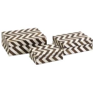 Zig Zag Bone Inlay Boxes - Set of 3