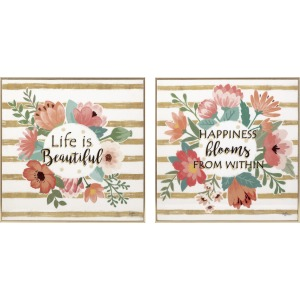 Peony Bouquet Wall Decor - Ast 2