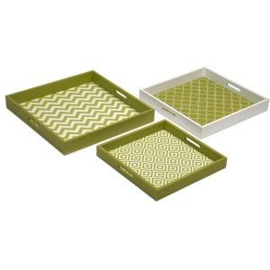 Essentials Graphic Green Apple Trays - Set of 3