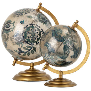 Aston Hand Painted Glass Globes - Set of 2