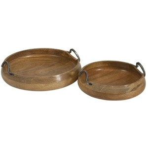 Vallari Round Wood Trays - Set of 2