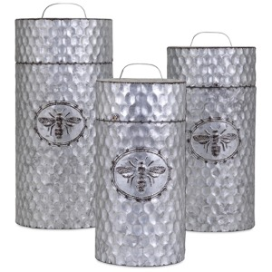 TY Honeybee Galvanized Decorative Canisters - Set of 3