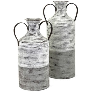 Louver Metal Vases - Set of 2