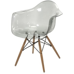 Beckett Grey Transparent Chair w/ Wood Leg