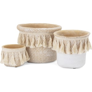 Negev Cement Basket Pots with Tassels - Set of 3