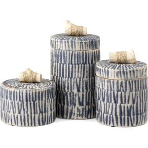 Jabal Decorative Ceramic and Wood Containers - Set of 3
