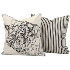 Jackson Bull Embroidered Pillow