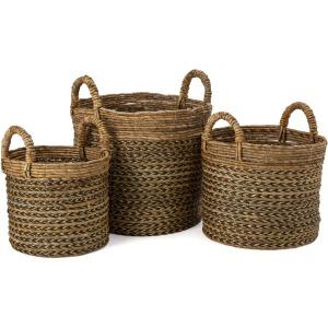 Metallic and Banana Leaf Baskets - Set of 3