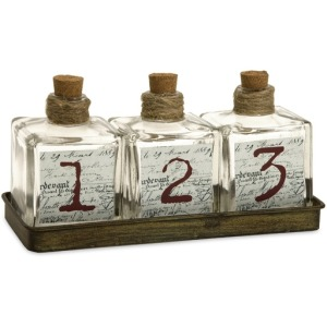 Oscar Glass Bottles in Metal Tray - Set of 4