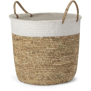 Shoelace and Raffia Woven Basket - Large