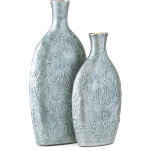 Austina Blue Enamel Vases - Set of 2