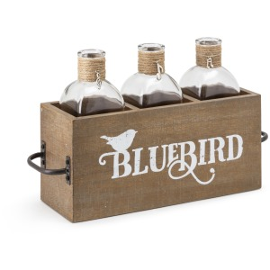 TY Bluebird Three Bottles in Wood Caddy