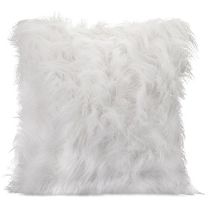 Nikki Chu White Faux Fur Pillow