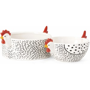 Farmstead Handpainted Chicken Bowls - Set of 2