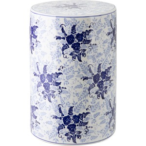Angelina Blue Floral Garden Stool