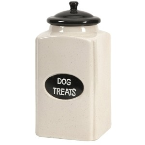 Dog Large Ceramic Canister with Metal Plaque