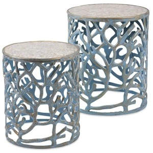 Coral Mother of Pearl Tables - Set of 2