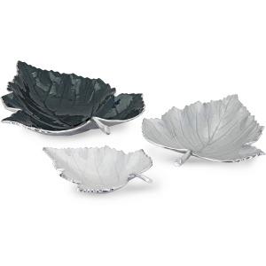 Macee Enamel Decorative Leaf Trays - Set of 3