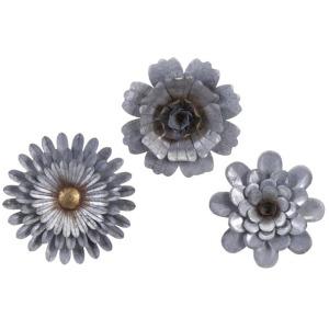 Hillary Galvanized Wall Flowers - Set of 3
