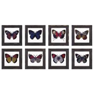 Butterfly Framed Glass Wall Decor - Ast 8