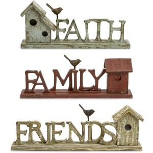 Family Friends and Faith Birdhouses - Set of 3