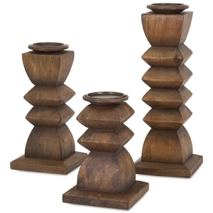 Desta Wood Candleholders - Set of 3