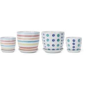Febe Striped Ceramic Planters - Set of 2, Ast 2