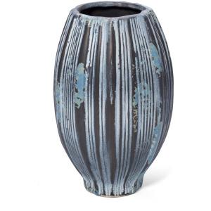 Leocadio Medium Blue and Bronze Stripe Vase