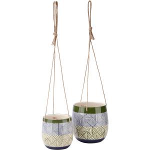 Basim Hanging Ceramic Planters - Set of 2