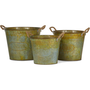 Walther Galvanized Planters with Rusted Finish - Set of 3