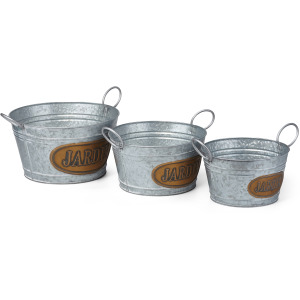 Jardin Galvanized Planters - Set of 3