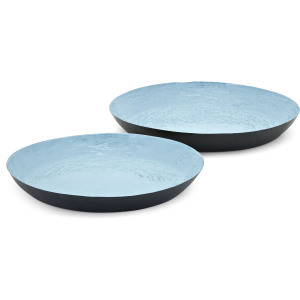 Calista Blue Enamel Finish Trays - Set of 2