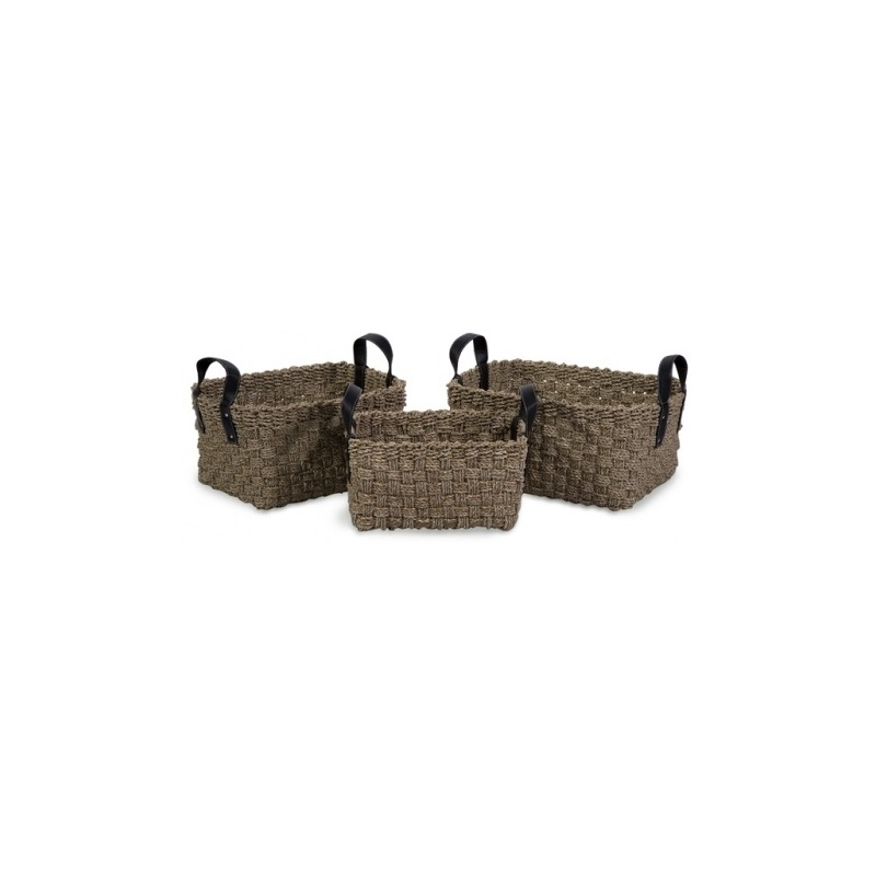 Natural Seagrass Baskets with Handles - Set of 3