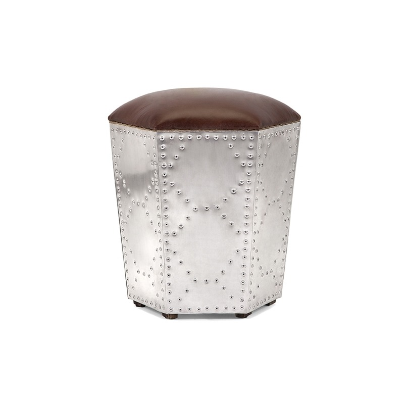 Bram Steel and Leather Ottoman