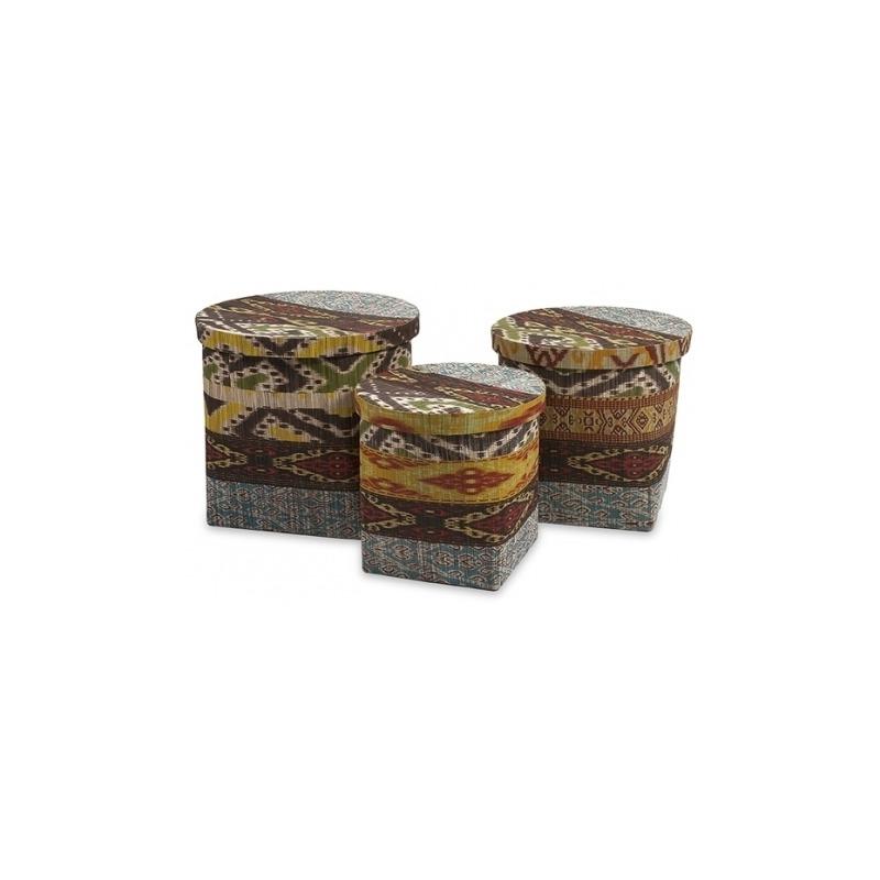 Tymon Waterhyacinth Baskets w/ Lids - Set of 3