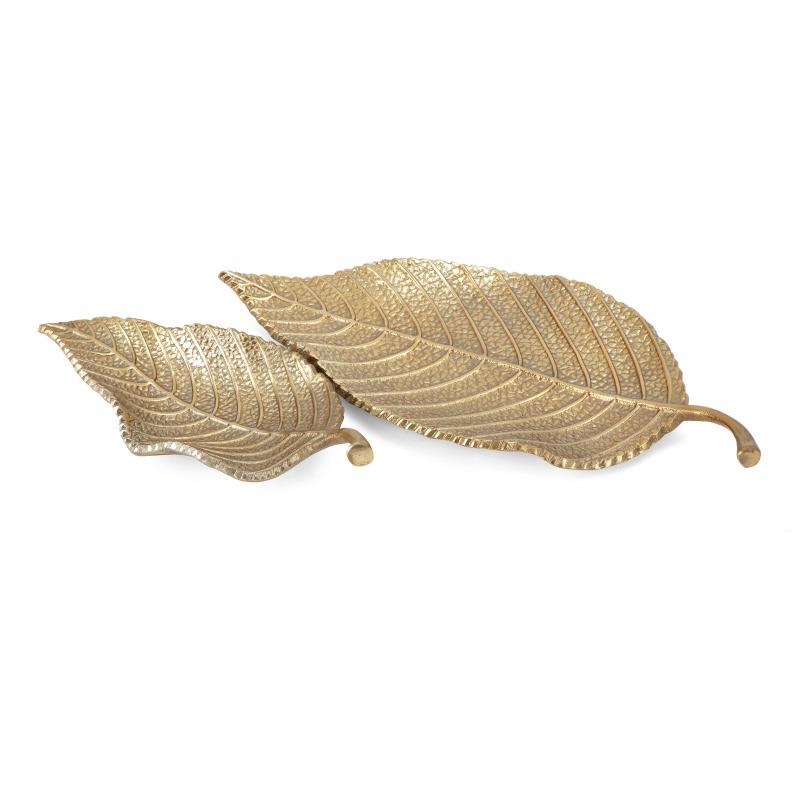 Aspen Aluminum Leaf Decorative Trays - Set of 2
