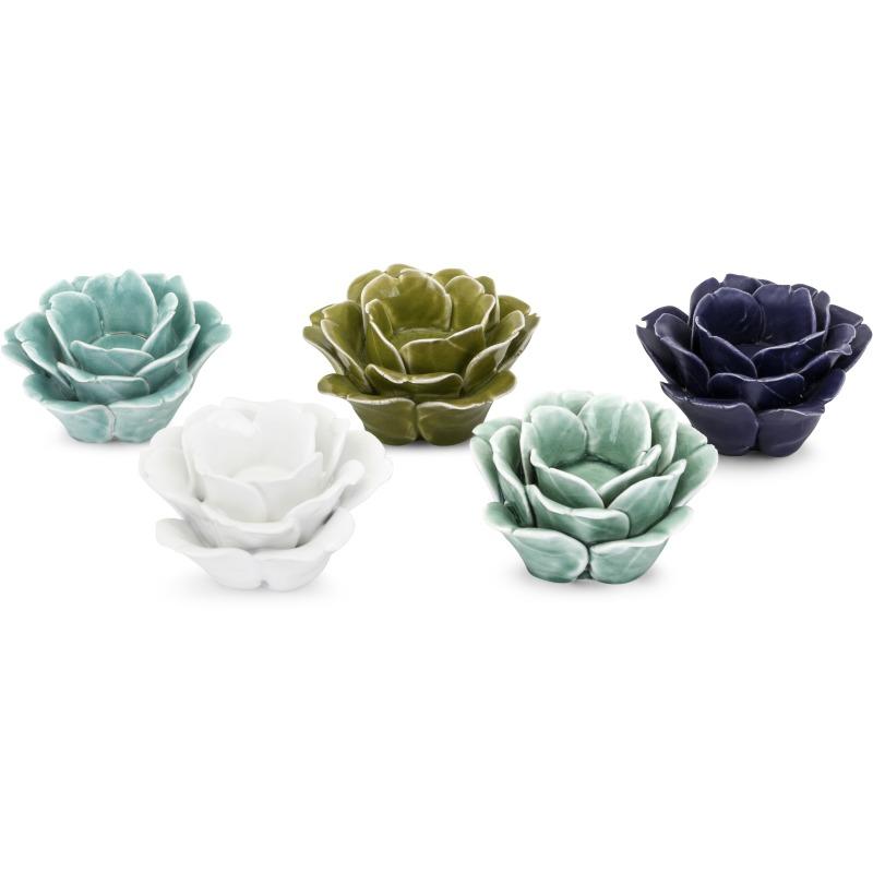 April Flowers Ceramic Votives - Ast 5