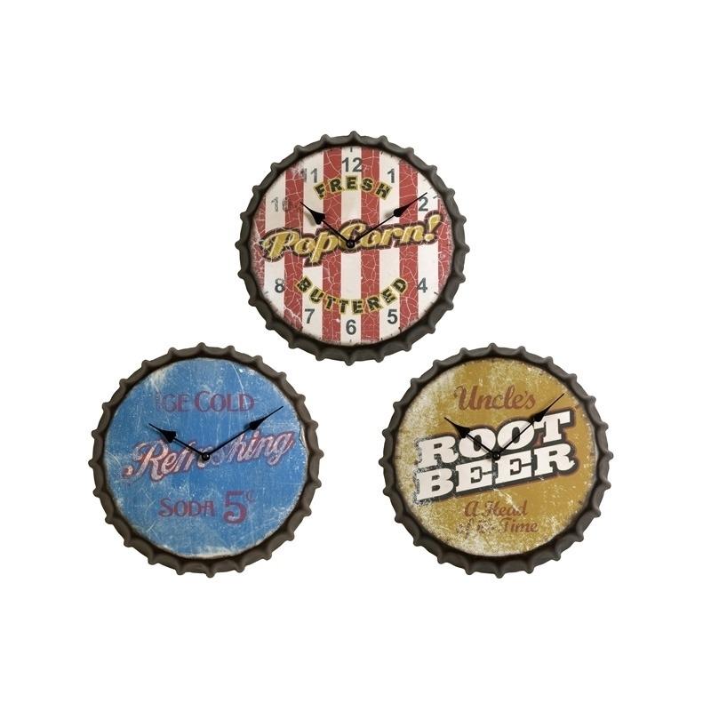 Vintage Bottle Cap Clocks - Set of 3