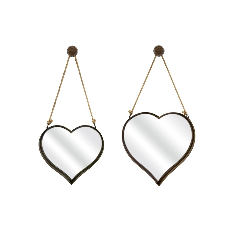 Heart Shape Wall Mirror - Set of 2