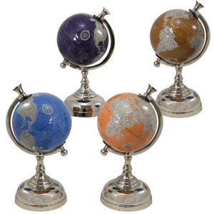 Colorful Globe with Metal Base