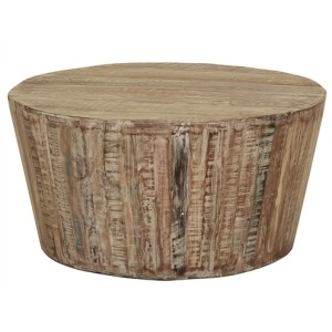 COLTON TAPERED DRUM WHITE WASH COFFEE TABLE
