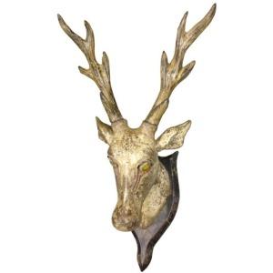 Carved Wooden Deer Head