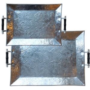 Aluminum Trays W/Handles Set-of-2