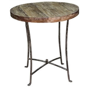 Iron Wood Round End Table
