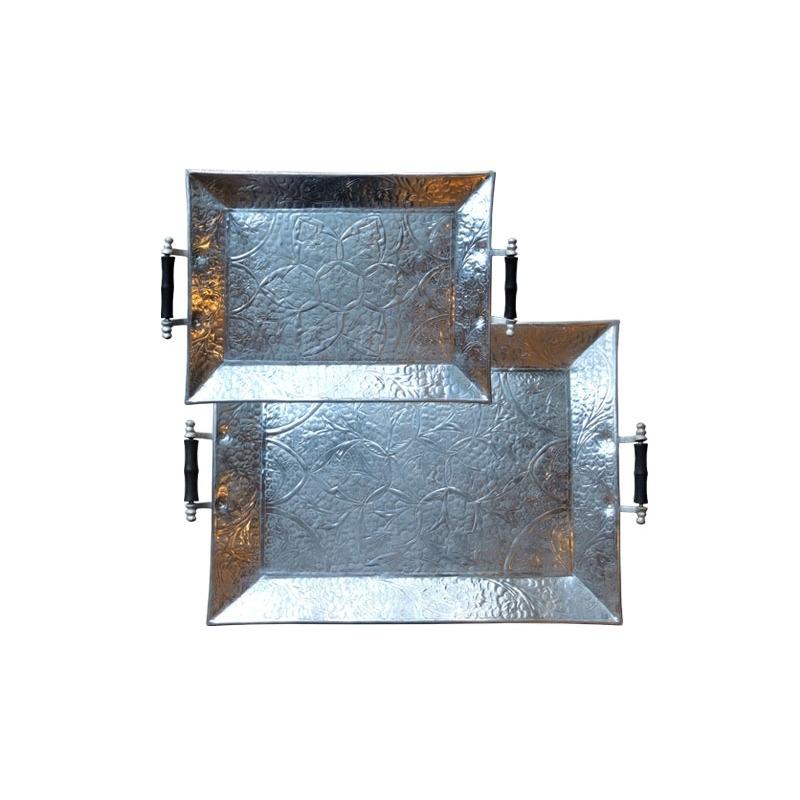 Aluminum Trays W/Handles Set-of-2