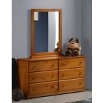 Pecan Tucson Double Dresser six drawers & Mirror