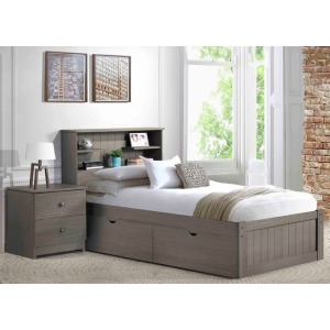 Newport Grey Twin Bookcase Bed