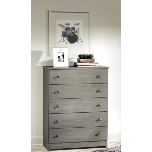 Gray Five Drawer Chest