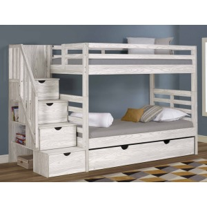 Manchester Bunk Bed with Staircase & Trundle - Birch