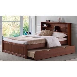 Newport Queen Bookcase Platform Bed - Chestnut